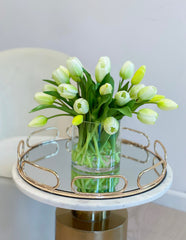 Faux tulip flower arrangement-Real touch Tulips-Tulip arrangement-White ombré green  tulip centerpiece