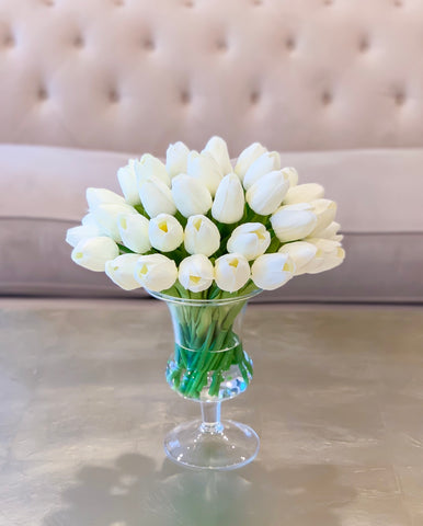 Real Touch White Tulips Centerpiece for Dining Table in Tall Vase- Faux Arrangement-Floral Arrangement - Flovery