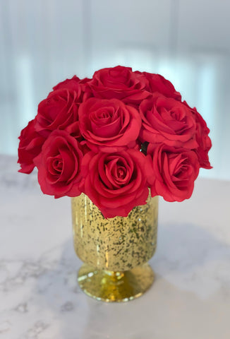 Real Touch Red Rose Arrangement In Gold Vase - Christmas Decor - Home Decor - Centerpiece