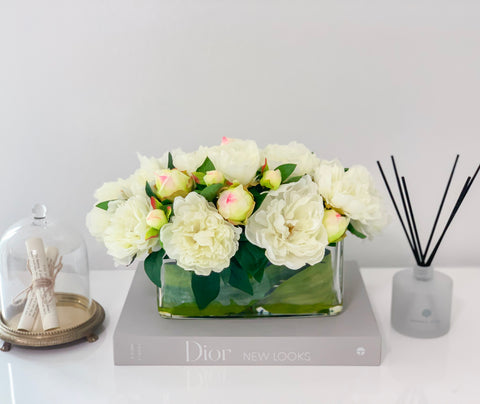 White Peony-Peonies-Finest Silk Flower Arrangement-Peony Arrangement-White Luxury Silk Peony-Artificial Arrangement-Home Decor-Faux Flowers