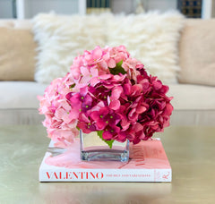 REAL TOUCH Hydrangea-Real Touch Pink Hydrangeas Arrangement-Dark Pink Hydrangea Arrangement-Faux Hydrangea Centerpiece- Flower Arrangement - Flovery