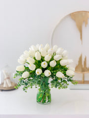 Real Touch Tulip Arrangement-White Tulip Centerpiece-Real Touch Flower Arrangement-Silk Flower Arrangement-Artificial Flower-Faux Flower -