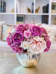 Large REAL TOUCH Rose-Peony Centerpiece-Purple/Lavender Rose Arrangement English Roses-Floral Arrangement - Luxury Home Decor Centerpiece - Flovery