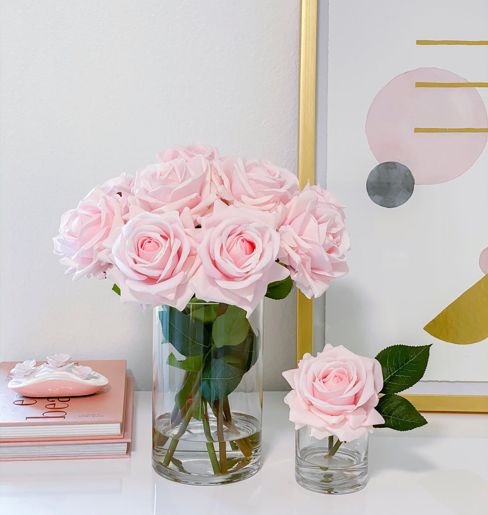 Set of 2- LARGE Size Pink/Blush Rose Real Touch Arrangement-Roses Centerpieces-Floral Arrangement-Faux Rose Centerpiece-Table Arrangement