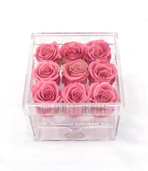 Premium Preserved Sweet Pink Rose In Acrylic Keepsake Box with Drawer