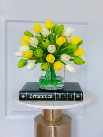 Real Touch Centerpiece-Real Touch White Tulip-Green Tulip-Real Touch Tulips-Arrangement -Faux Arrangement-Silk Faux Arrangement - Flovery