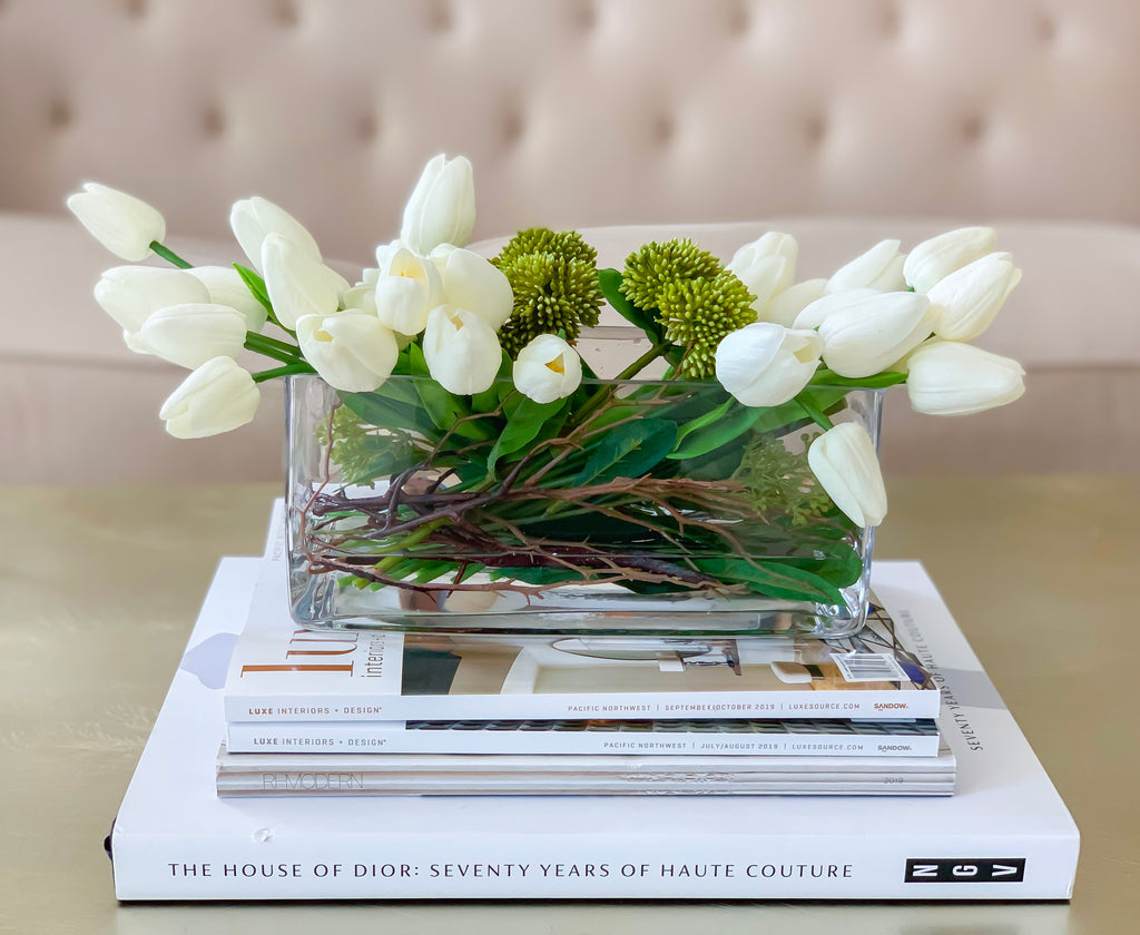 Flovery's contemporary design Real touch white tulip arrangement
