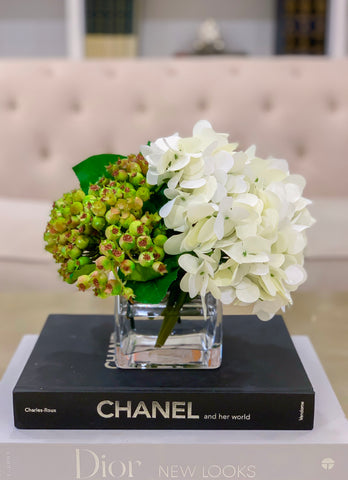 REAL TOUCH Flower Arrangement White Hydrangea-Real Touch Hydrangea Flower Arrangement-White Hydrangea Centerpiece-Green Arrangement