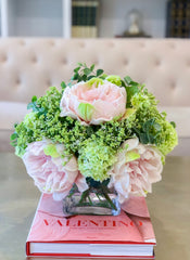 Large Real Touch Peonies-Pink Floral Arrangement-Pink Peonies Centerpiece-Large Size Real Touch Peonies-Large Size Peonies Arrangement - Flovery