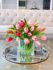 Faux tulip flower arrangement-Real touch Tulips-Tulip arrangement-light Pink mixed dark  pink tulip centerpiece