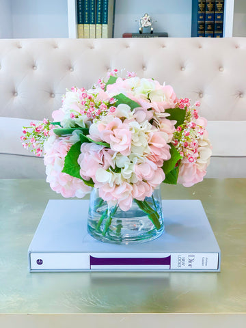 Large REAL TOUCH Flower Arrangement Pink/Green Pastel Hydrangea-Real Touch Hydrangeas Arrangement-White Hydrangea Arrangement-Centerpiece