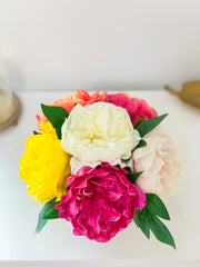 Limited Large Finest Real Touch Peony-Large Size Peonies Centerpiece-White/Pink/Yellow/Orange/Magenta/Blush Faux Silk-Peonies Arrangement - Flovery