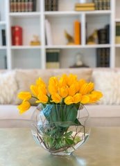 Large Yellow Real Touch Tulip Arrangement-Tulip Real Touch Flower Arrangement-Tulip Centerpiece-Faux Tulip Centerpiece- Yellow Flower Center - Flovery