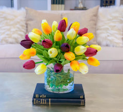 Real Touch Tulips Centerpiece for Dining Table-Fake Flowers-Faux Arrangement - Flovery
