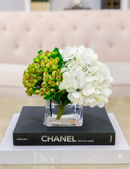 REAL TOUCH Flower Arrangement White Hydrangea-Real Touch Hydrangea Flower Arrangement-White Hydrangea Centerpiece-Green Arrangement - Flovery