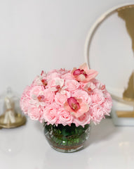 Real Touch Pink Roses-Real Touch Pink/White Orchids-Baby Pink/Pink/Blush Rose Flower Arrangement-Rose Faux Arrangement-Rose Centerpieces -