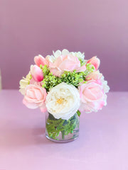 Pink Centerpiece-All Real Touch Flowers-Peonies Flowers Arrangement-Pink Real Touch Flowers-Flower Arrangement-Faux Floral Arrangement - Flovery