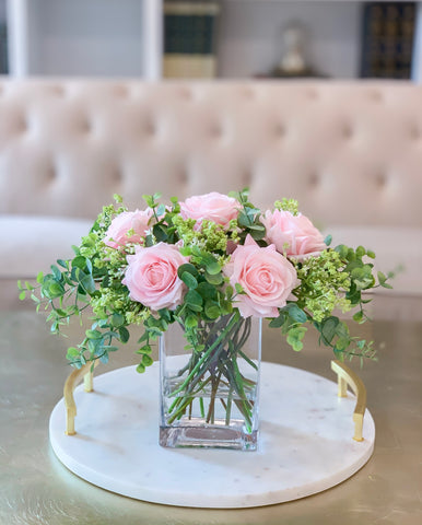 Pink/Blush Centerpiece-Rose Real Touch Flower Arrangement-Silk Flower Arrangement-Rose Centerpiece Home Decor-Floral Arrangement