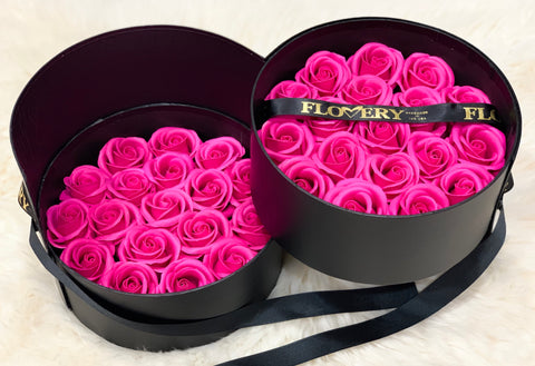 Scented Soap Hot Pink Rose In Elegant Double Gift Box - Flovery