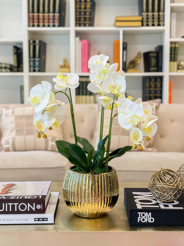 "22.5"" Real Touch Orchid Arrangement-Flower Arrangement-Table Centerpiece-Real Touch Flower In Vase- White Orchid Arrangement-Floral Decor"