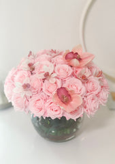Real Touch Pink Roses-Real Touch Pink/White Orchids-Baby Pink/Pink/Blush Rose Flower Arrangement-Rose Faux Arrangement-Rose Centerpieces - Flovery