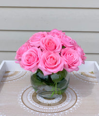 Real Touch Hot Pink Roses Arrangement-Pink Real Touch Flower Arrangement-Artificial Faux Silk Flowers-Real Touch Roses-Centerpiece-Pink Rose