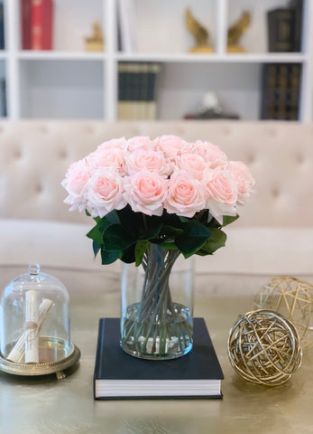 "14"" Large Size Blush White Rose Real Touch Arrangement-Roses Centerpieces-Floral Arrangement-Faux Rose Centerpiece-Artificial Roses - Flovery"