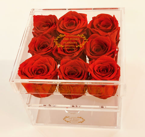 9 PREMIUM ECUADOR PRESERVED RED ROSES ARRANGEMENT IN JEWELRY ACRYLIC BOX WITH DRAWER - Flovery