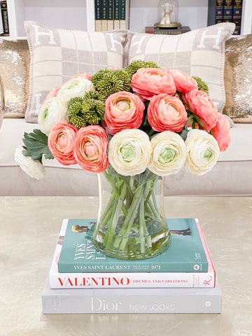 Large Premium Finest Artificial Ranunculus Arrangement-Pink/Ivory Ranunculus Centerpiece-Pink Dinner Table Centerpiece-Modern Centerpiece