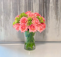 Real Touch Pink Peach Rose Mixed Green Arrangement - Flovery
