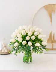 Real Touch Tulip Arrangement-White Tulip Centerpiece-Real Touch Flower Arrangement-Silk Flower Arrangement-Artificial Flower-Faux Flower - Flovery
