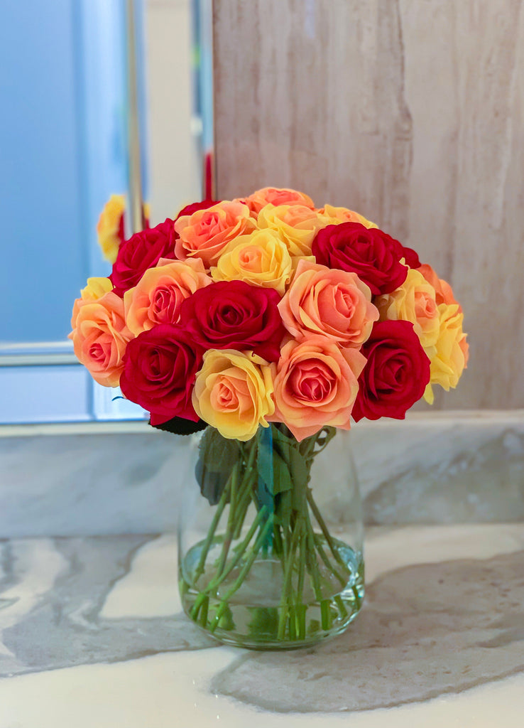 Large Real Touch Roses Red Yellow Orange - Flovery