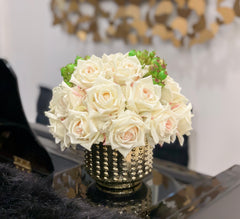 Flovery Everlasting Real Touch Cream Rose Centerpiece - Flovery