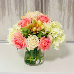 Real Touch Rose, Orchids Mixed With Finest Artificial White Hydrangea In Glass Vase - Home Decor - Flovery