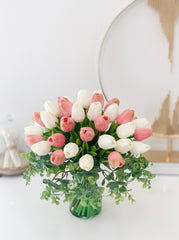 Real Touch Tulip Arrangement-PinK/White Tulip Centerpiece-Real Touch Arrangement-Silk Flower Arrangement-Artificial Flower-Faux Flowers - Flovery