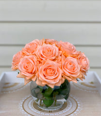 Real Touch Orange Roses Arrangement-Orange Real Touch Flower Arrangement-Artificial Faux Silk Flowers-Real Touch Roses-Centerpiece-Rose - Flovery
