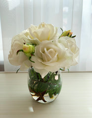 White Real Touch Roses Buds Arrangement - Flovery