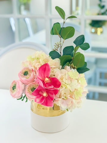 Elegant design Real Touch Hydrangea, Cymbidium Orchid, Ranunculus Arrangement In White Gold Ceramic Vase - Flovery