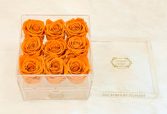 Premium Ecuador preserved orange roses in elegant acrylic box - Flovery