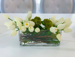 Real Touch White Tulips Wide Square Arrangement - Flovery