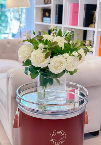 Large White Rose Real Touch- Flower Arrangement in Vase-Artificial Flower Arrangement Home Decor-Large Silk Centerpiece- Floral arrangement