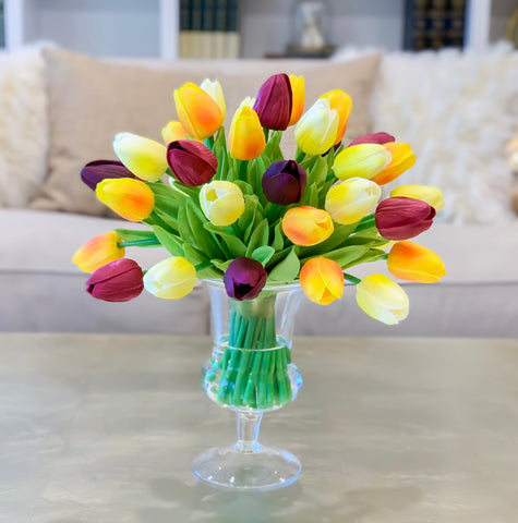 Tulips Real Touch Centerpiece for Dining Table-Tulip Arrangement- Faux Arrangement-Tulip Real Touch Arrangement - Flovery