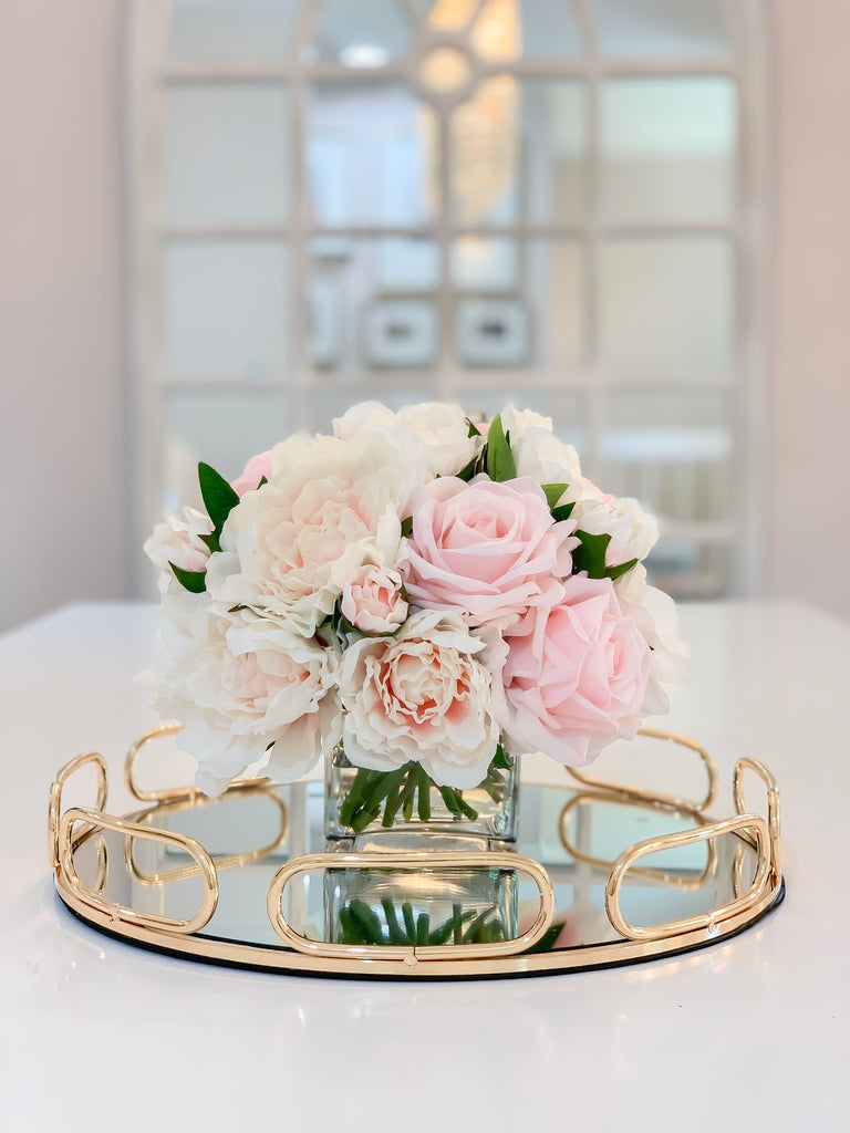 REAL TOUCH Pink/Pastel Peony Arrangement-Real Touch Flower Arrangement –  Flovery