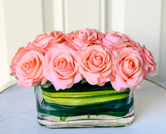 Real Touch Peach Roses Arrangement - Flovery