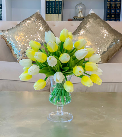 Real Touch Flowers Centerpiece-Real Touch Flower Arrangement-Yellow Real Touch Tulip Arrangement-Faux Tulip Arrangement-Silk Tulip