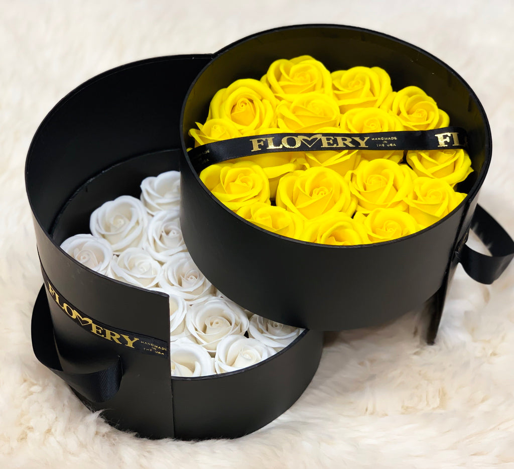 Premium Scented Soap Mixes Yellow and White Roses In Elegant Double Box - Flovery