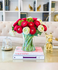 Large Premium Finest Artificial Ranunculus Arrangement-Red/Ivory Ranunculus Centerpiece-Red Dinner Table Centerpiece-Modern Centerpiece