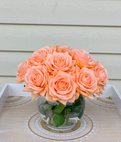 Real Touch Orange Roses Arrangement-Orange Real Touch Flower Arrangement-Artificial Faux Silk Flowers-Real Touch Roses-Centerpiece-Rose