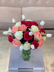 Large Real Touch Flowers Arrangement - Fake Flower - True Touch Roses, Tulip - mixed Colors Roses - Christmas Arrangement  - All Occasion