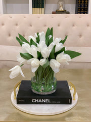 12-in White Real Touch Tulip Arrangement - Flovery